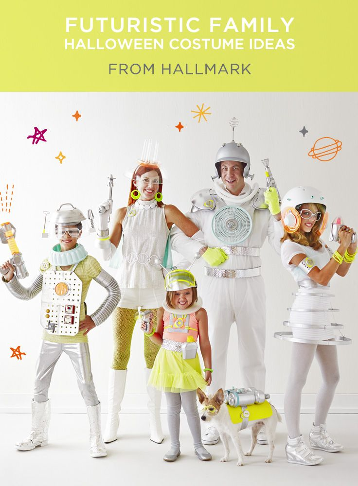 Family Halloween Costumes | Using everyday items (and a little silver spray paint!), you can craft these out-of-this-world Halloween costumes for the whole family. #Hallmark #HallmarkIdeas