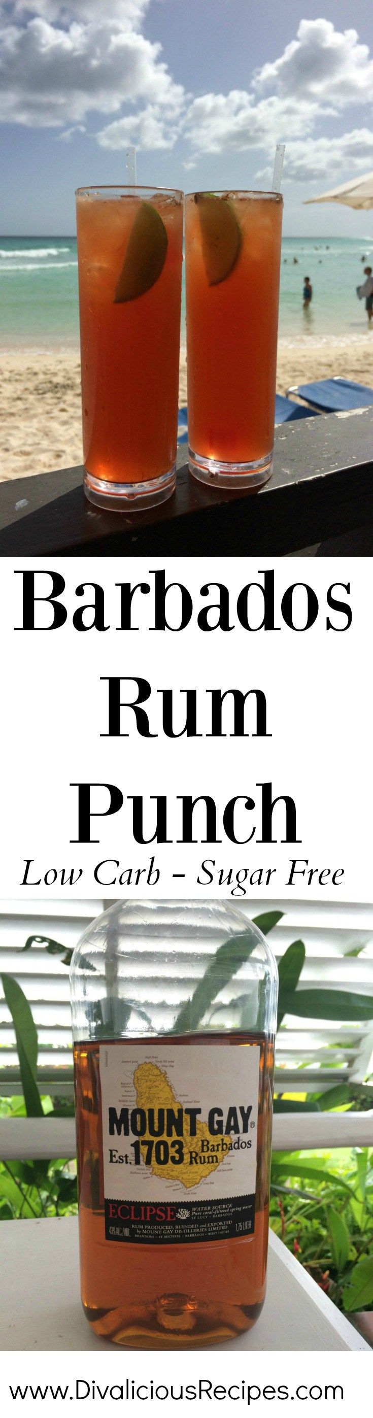 This is my version of a sugar free Barbados rum punch.   It was one of our favourite drinks when we lived there but unfortunately it is full of sugar.