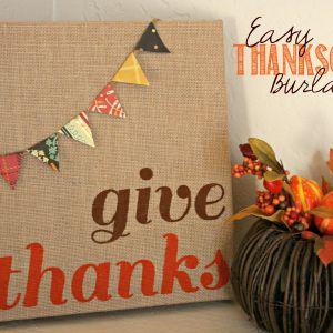 Easy Thanksgiving Burlap Canvas Art | Addicted 2 DIY