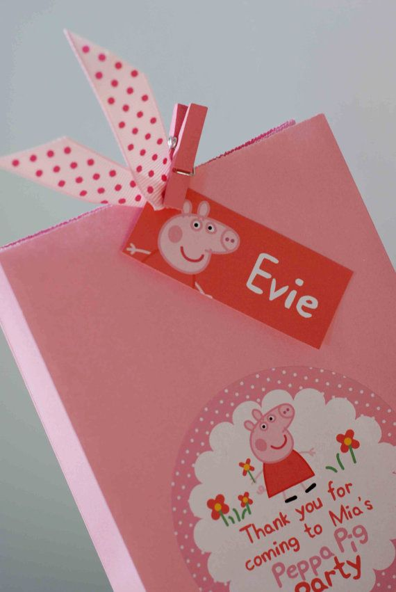 Personalised Childrens Party Bags  PEPPA PIG & GEORGE PIG  These playful personalised childrens party bags are perfect for your childs birthday party. Fun and cute they will brighten up any celebration! PARTY BAG - The personalised details are on the front of each bag and the bright polka dot ribbon, personalised guest tag and peg completes the look. The bag size is 120mm x 220mm x 60mm. Invitations, thank you cards, party hats and party banners are also available in the matching design…