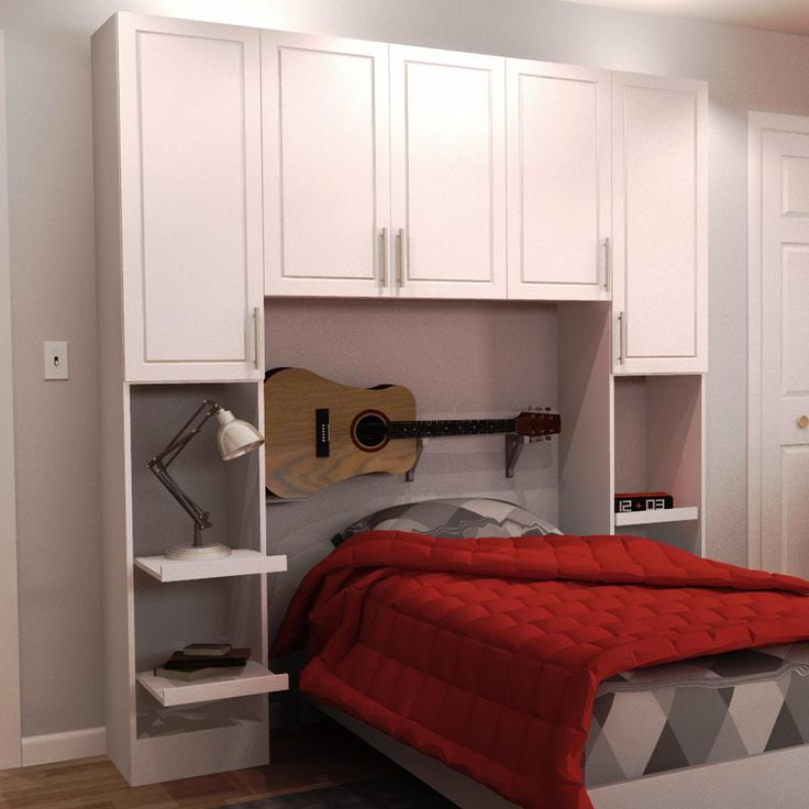 Madison Twin Size Bed Surround Melamine Cabinets in White