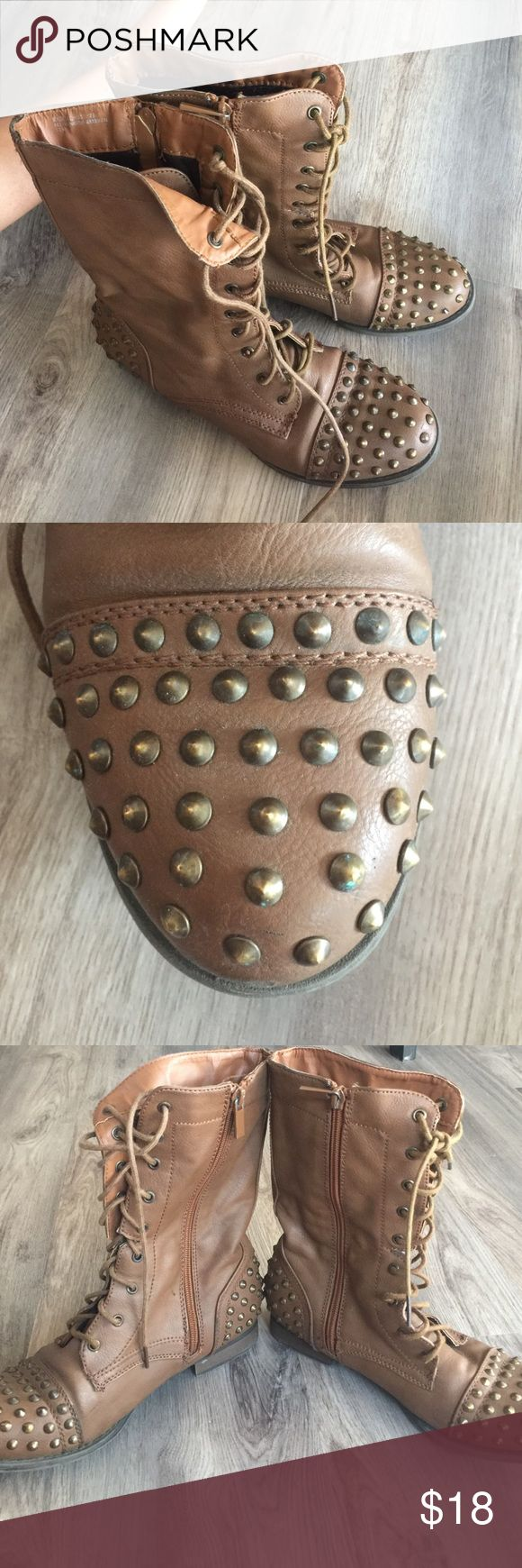 brown studded combat boots super cute brown combat boots, lace up & zipper on the side, good condition, brown shoes on front and back Shoes Combat & Moto Boots