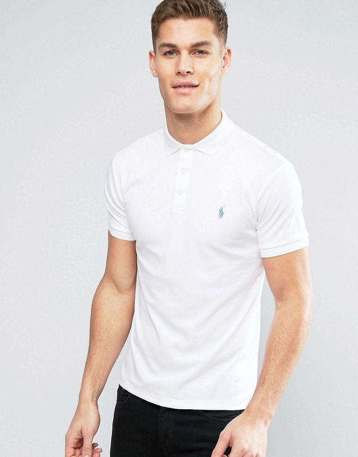 Get this Polo Ralph Lauren's polo shirt now! Click for more details. Worldwide shipping. Polo Ralph Lauren Jersey Polo Slim Fit in White - White: Polo shirt by Polo Ralph Lauren, Durable cotton mesh pique, Ribbed collar and cuffs, Button placket, Embroidered polo player, Uneven vented hem, Slim fit - cut close to the body, Machine wash, 100% Cotton, Our model wears a size Medium and is 6'4�/193 cm tall. Naming his brand after a game that embodies classic style, Ralph Lauren created Polo…