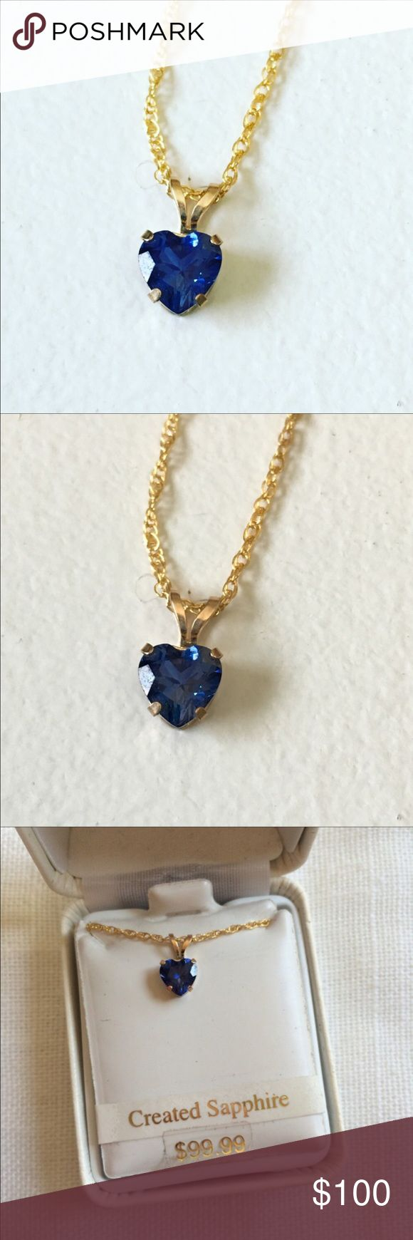 "NWT 10K Gold Filled Created Sapphire Necklace Brand new in box. 18"" chain. 10K gold filled. Heart-shaped created sapphire pendant. Jewelry Necklaces"