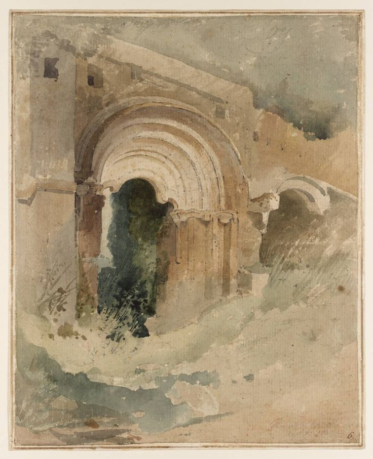 1803 Doorway of the Refectory, Rievaulx Abbey graphite and watercolor