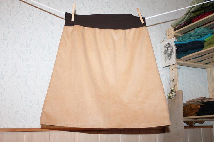 brauner Cordrock sewing skirt schlichter einfarbiger Rock umstandsrock Hüftrock einfarbiger ROCK beige von Handmade Erzgebirge auf DaWanda.com