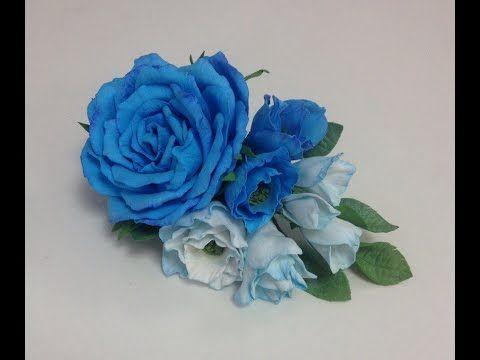 МК Роза из зефирного фоамирана на шпильке. - YouTube
