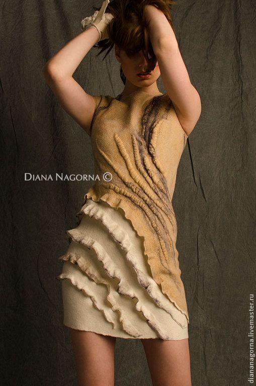 """Платье из мериносовой шерсти и шелка """" La vanilla"""" - бежевый,абстрактный"""