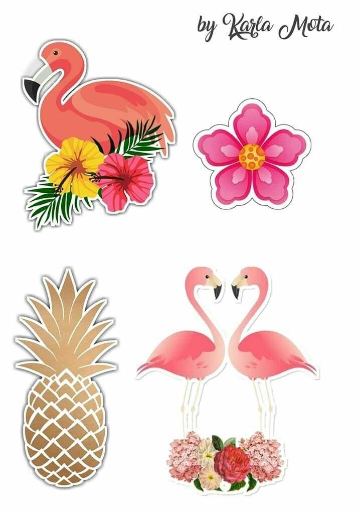 Topo De Bolo De Papel Dos Flamingos Para Imprimir Mimo