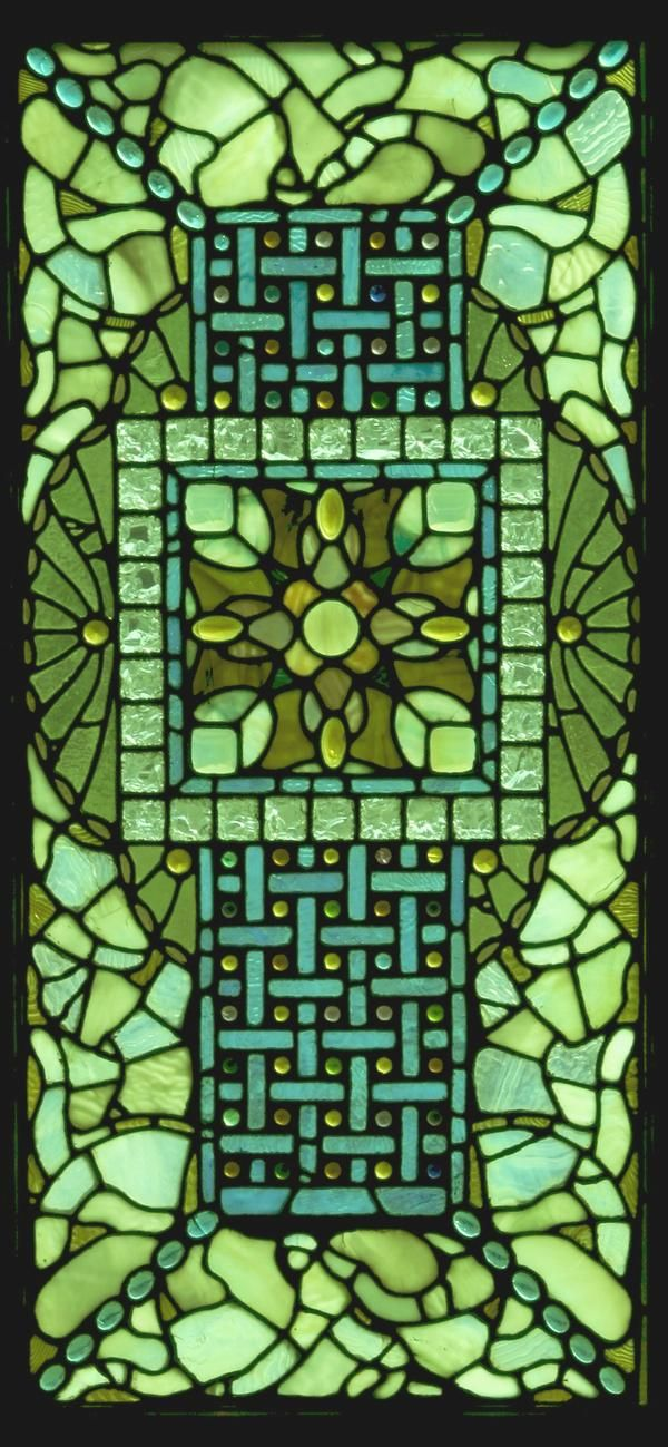 Green Stained Glass Window.