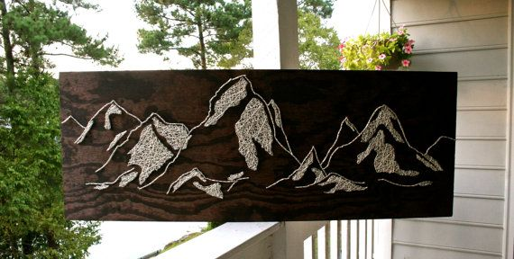String Art Mountains 34x12 The Distant Mountains by DistantRealms