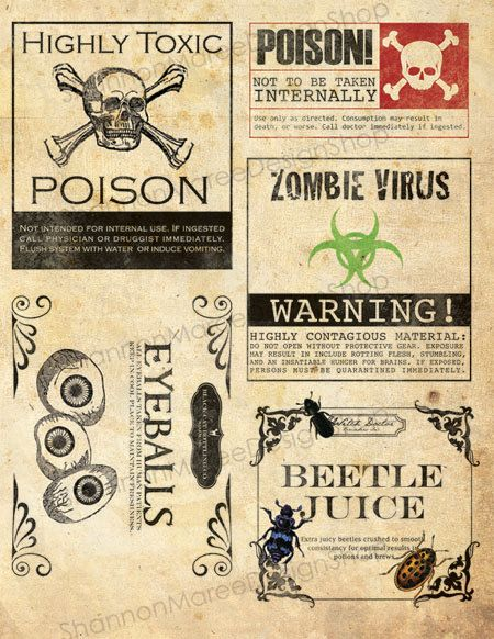 Halloween apothecary labels! I am especially fond of the Beetle Juice label :3