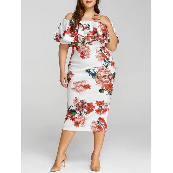 69d8f00780c7 Plus Size Floral Print Ruffle Dress - White 3xl in 2019 | Clothes ...