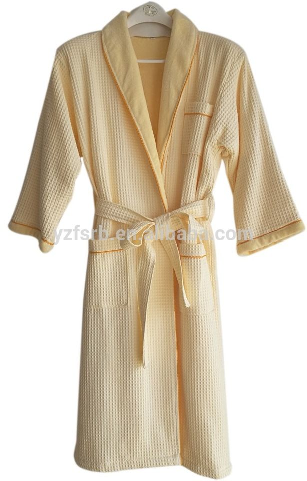 Classic Terry Cloth & Waffle shawl collar double layers bath robe in light  yellow