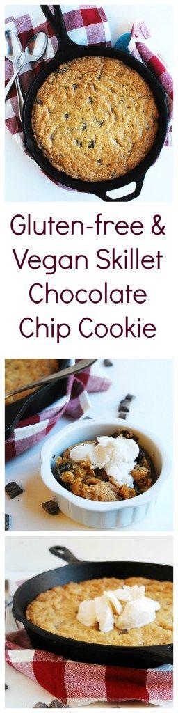 Gluten-free & Vegan Skillet Chocolate Chip Cookie (Gluten, dairy, egg, peanut & tree nut free; vegan)