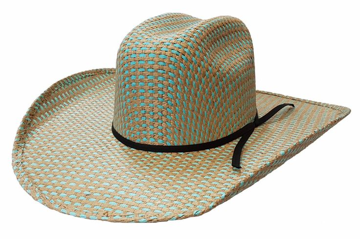 🐎 Rio Rodeo King Straw Hat, Turquoise/Jute