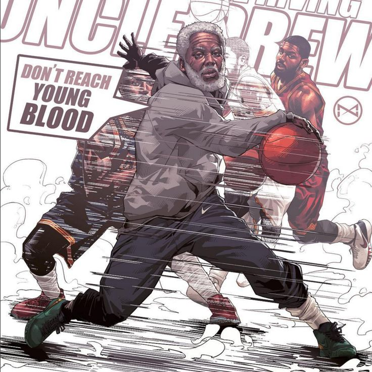 Like a superhero transforming into his crime-fighting kit. Artist Hyperthree Ye captures Kyrie Irving transitioning into his alter ego Uncle Drew.