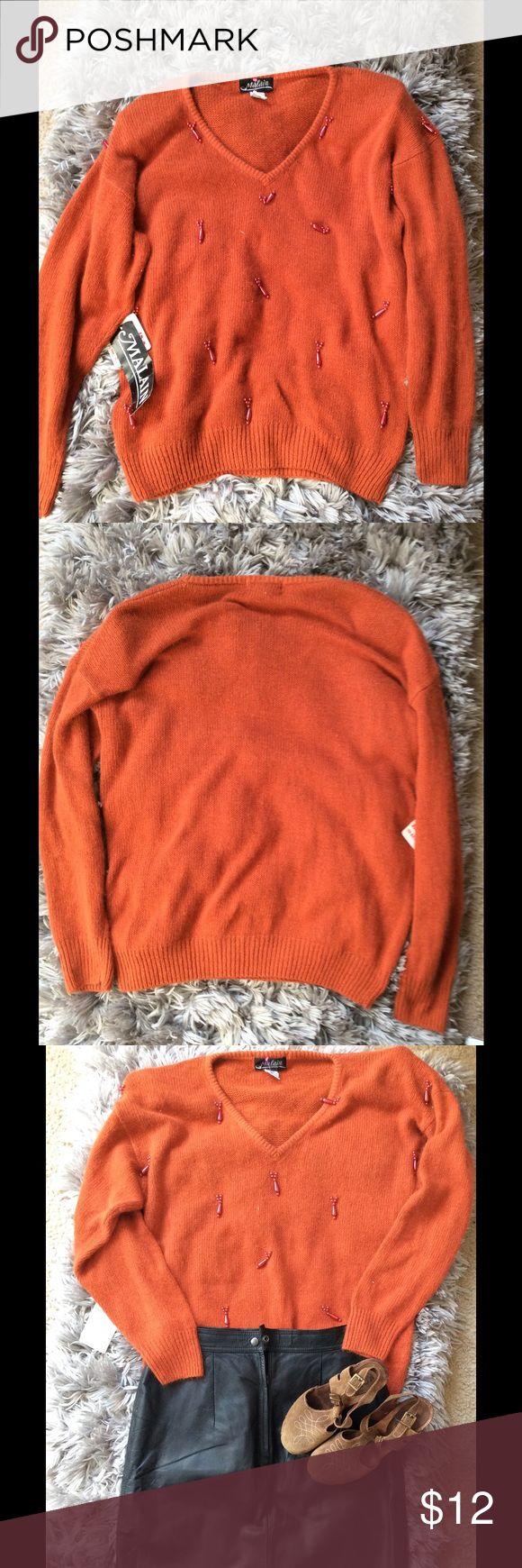 Oversized Knit Sweater Oversized knit sweater with embellishments Malain Sweaters V-Necks