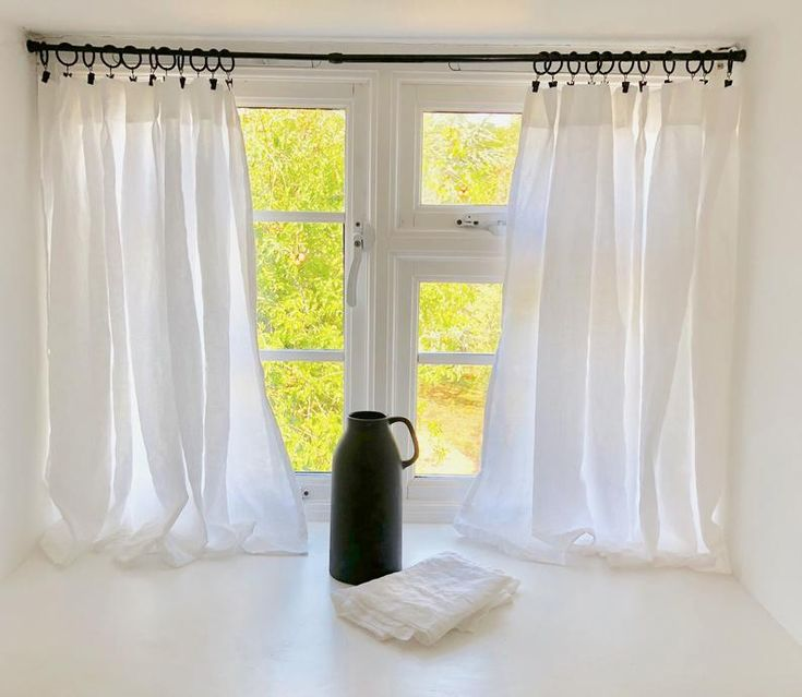 White Linen Cafe Curtains, Kitchen Curtains, Farmhouse ...
