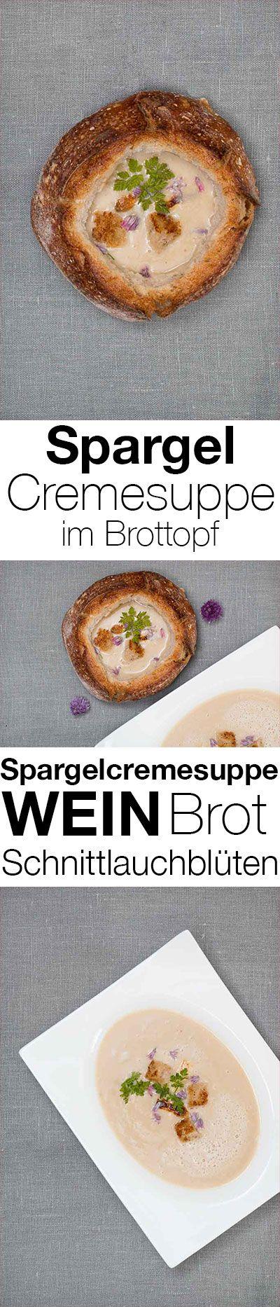 Spargelcremesuppe im Brottopf, Schnittlauchblüten und wo man authentische Streetfood Festivals bei gutem Wein feiert.