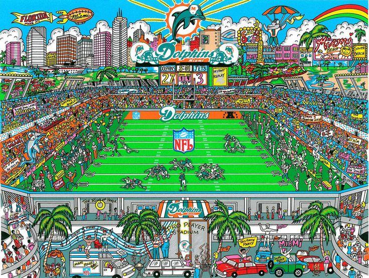Charles Fazzino 3D Art Charles Fazzino Limited Edition 3-Dimensional Serigraph Miami Dolphins Stadium