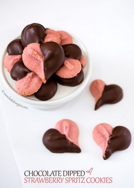 Chocolate Dipped Strawberry Spritz Cookies by bake.love.give., via Flickr
