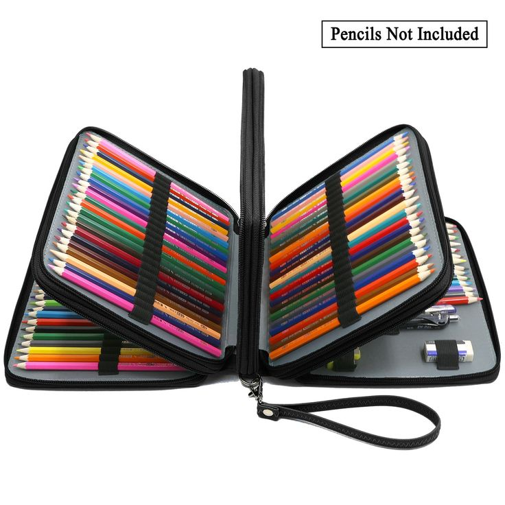 ADVcer 160 Slots Pencil Case - PU Leather Large Capacity Zipper Pen Bag with Hand Strap for Prismacolor Crayola Colored Pencil, Watercolor Pencils, Marco Pens, Gel Pen, Makeup Brush, Sharpener (Black)