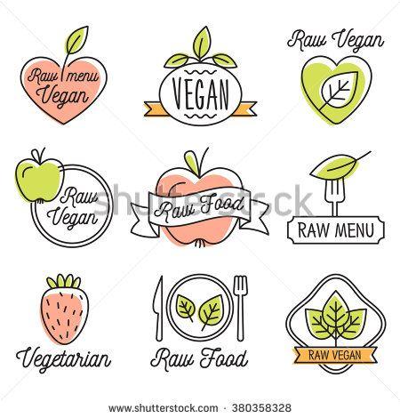 Raw vegan Organic food labels and elements set for food, drink, restaurants…