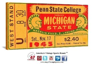 1945 Michigan State football ticket art on canvas. #47straight #michiganstate #spartans #collegefootball #vintage Great college football art for a game room or office. Click to see the score,