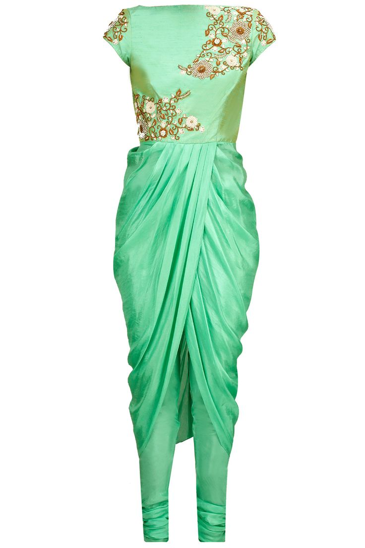 Mint embroidered drape kurta set available only at Pernia's Pop-Up Shop.