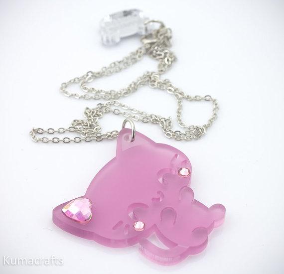 Frosted Light Violet Kitty Cat Pendant/Necklace by kumacrafts, $10.00