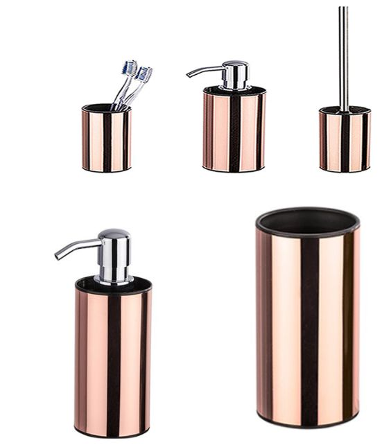 Accessoires für dein Badezimmer. Eine dreiteilige Kombination bestehend aus Zahnputzbecher, Seifenspender und Toilettenbürste in der Farbe Kupfer veredelt jedes noch so kleine Badezimmer.