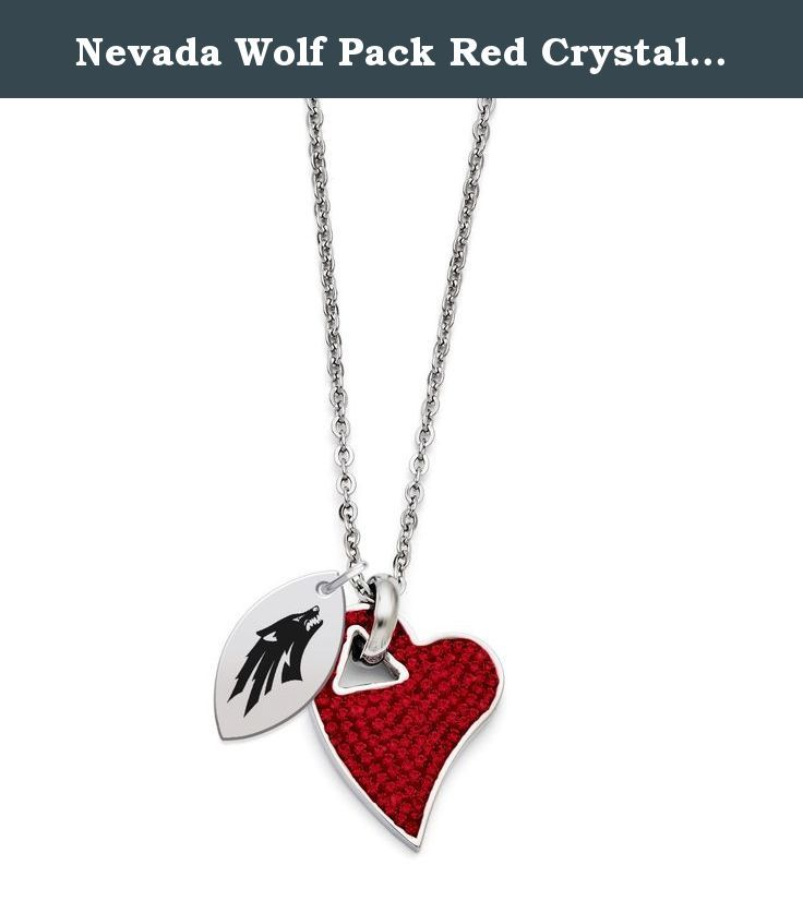 Nevada Wolf Pack Red Crystal Necklace. Bold, Beautiful and built to last! This sparkly crystal heart is built for everyday wear. Solid stainless steel and genuine Swarovski Crystal in just the right proportion that allows you to show your spirit with style!.