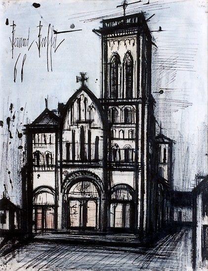 Basilique Sainte-Madeleine à Vézelay, mixed media on paper, 65 x50 cm, 1968. Musée Bernard Buffet.