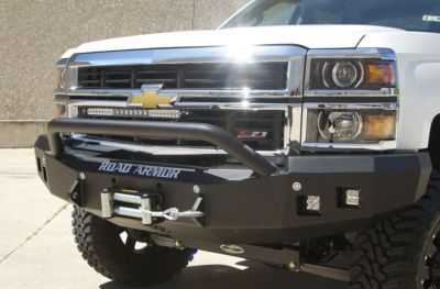 Truck Bumpers - Road Armor - Road Armor - Road Armor 314R4B Front Stealth Winch Bumper with Square Light Holes + Pre-Runner Bar Chevy Silverado 1500 2014-2016