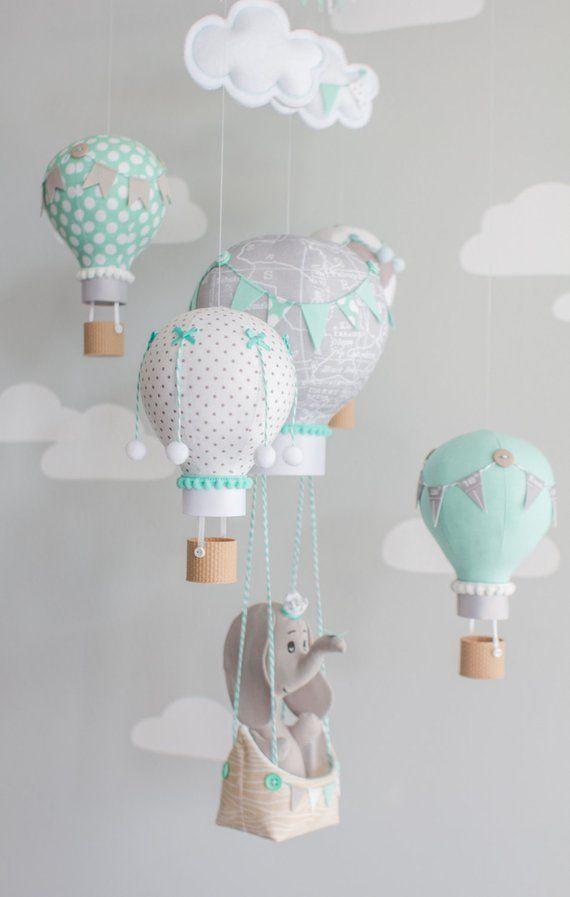 Heißluftballon Baby Mobile, Elefant Mobile, Aqua und Grau, Kinderzimmer Dekor, Reisethema, Kinderzimmer Mobile, i145