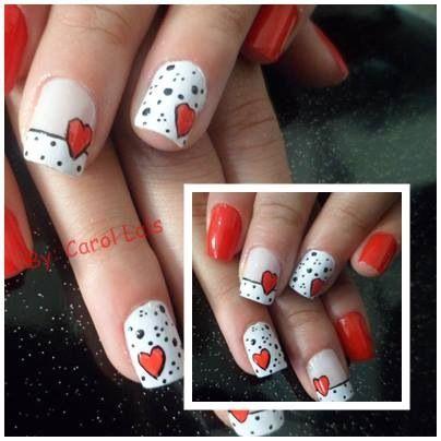 Nail art for V day