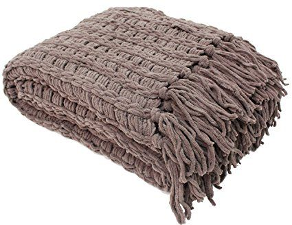 J & M Home Fashions Luxury Chenille Throw with Tassels, 50 by 60-Inch, Sable