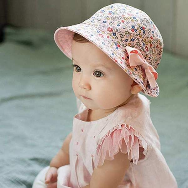 3d07cca7 ... Children Gift Floral Bowknot Beach Sun Bucket Caps Price history.  Available in pink and white. Floral Print Bucket Hat Cotton Baby Cap Double  Sided