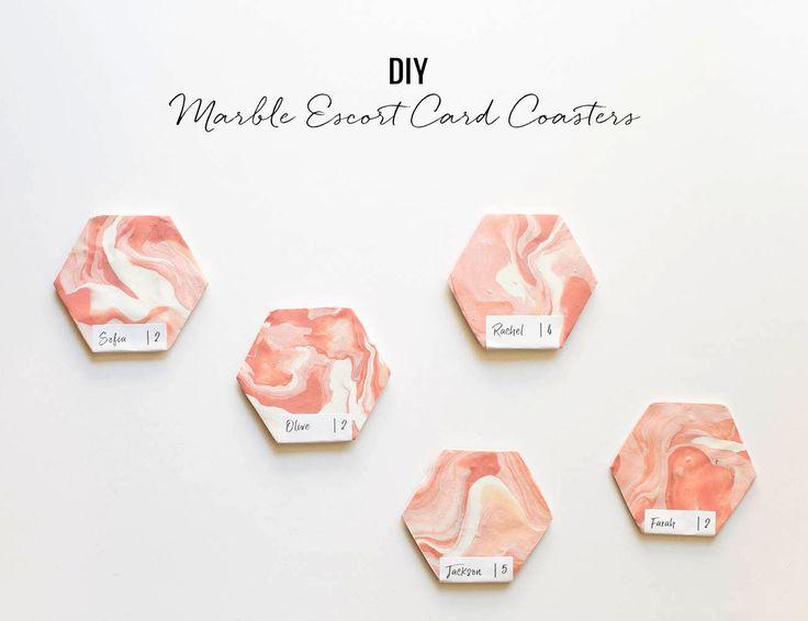 Dusty rose, blush + white wedding colors // DIY Marble Escort Card Coasters
