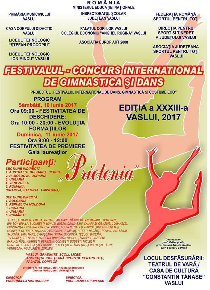 """Festivalul-Concurs International de Gimnastica si Dans """"Prietenia"""", editia aXXXIII-a, Vaslui!!!  Mult succes tuturor concurentilor!!! Director onorific festival, prof. Anusca-Doglan Elena. https://www.facebook.com/172841636411658/photos/a.174094816286340.1073741827.172841636411658/447912618904557/?type=3"""