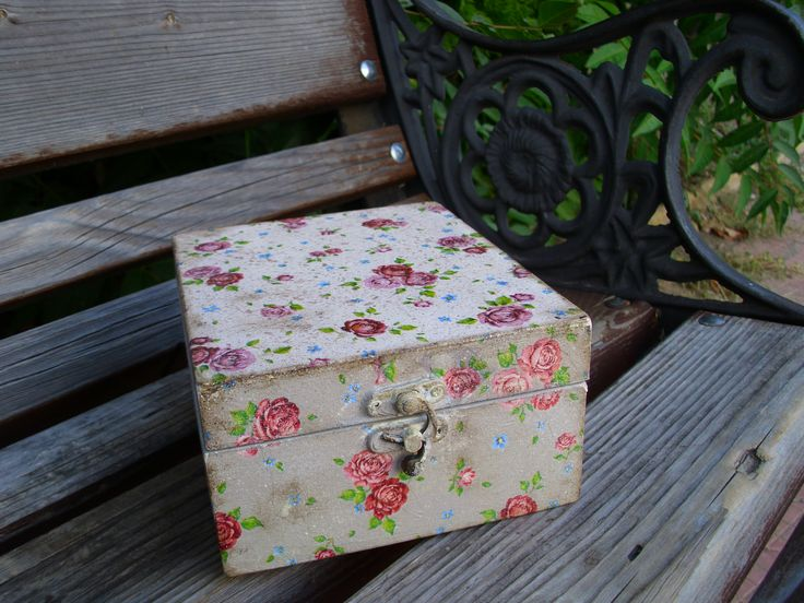 Handmade vintage box with little roses.