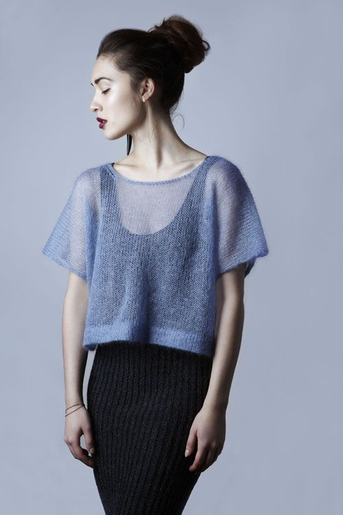sheer knit by Amy Hall of London. No pattern, but beautiful design.