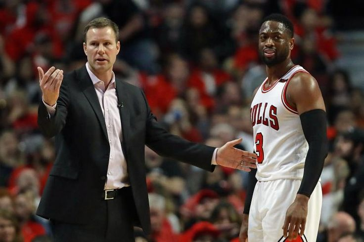 CHICAGO, IL - APRIL 23:    Head coach Fred Hoiberg of the Chicago Bulls gives instructions to Dwyane Wade #3 during Game Four of the Eastern Conference Quarterfinals against the Boston Celtics during the 2017 NBA Playoffs at the United Center on April 23, 2017 in Chicago, Illinois. The Celtics defeated the Bulls 104-95. (Photo by Jonathan Daniel/Getty Images)