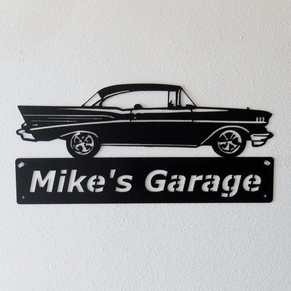 1957 Chevrolet Bel Air  voiture métal signe  homme des
