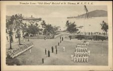 St. Thomas VI Transfer Scene Old Glory American Flag c1910 Postcard