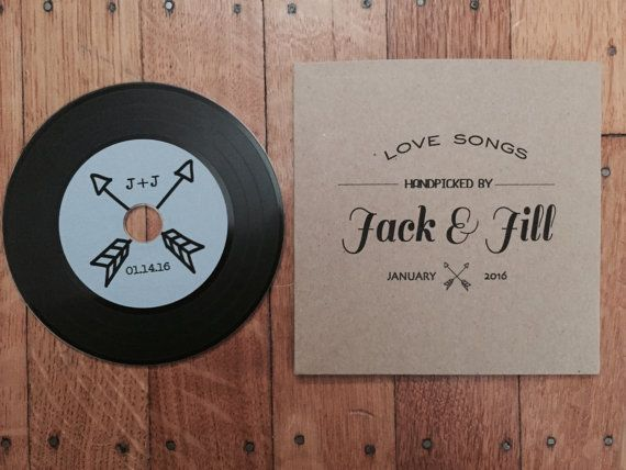 Vinyl Record Styled CD and Kraft CD Sleeve - Wedding Favor - Arrow Sample