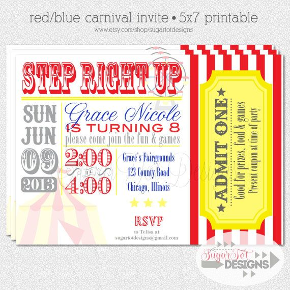 Carnival Theme Party Invitation.. The ones that return with their ticket will be picked at random and win a door prize