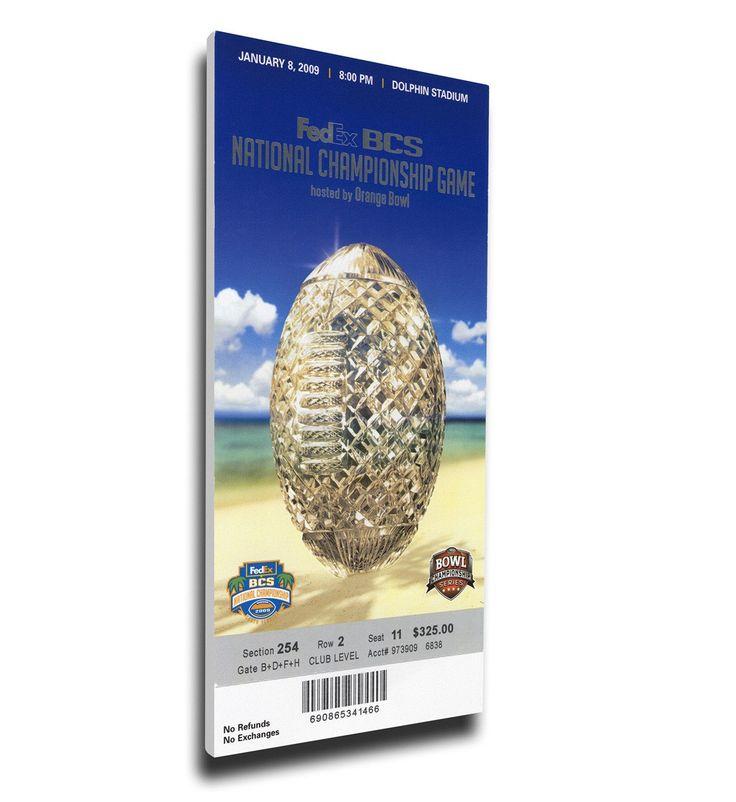Florida Gators Wall Art - 2009 BCS National Championship Game Canvas Mega Ticket