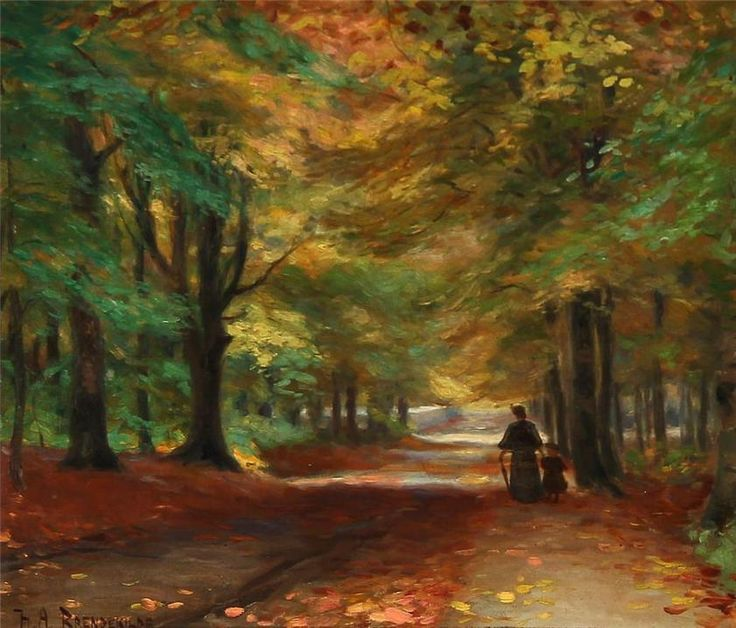 Autumn Forest With A Mother And Her Child, Hans Anderson Brendekilde. Danish (1857 - 1920). Tumblr